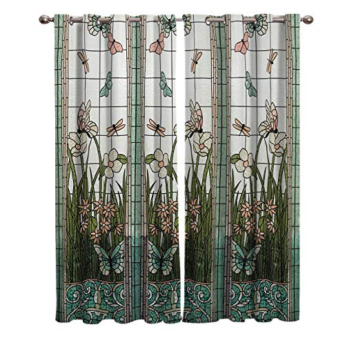 Edwiinsa Colored Glass Window Butterfly Kitchen Curtains Window Drapes Treatment Grommet 2 Panel Curtains for Kitchen/Cafe, Sliding Glass Door Curtains Set 80W x 63L inch