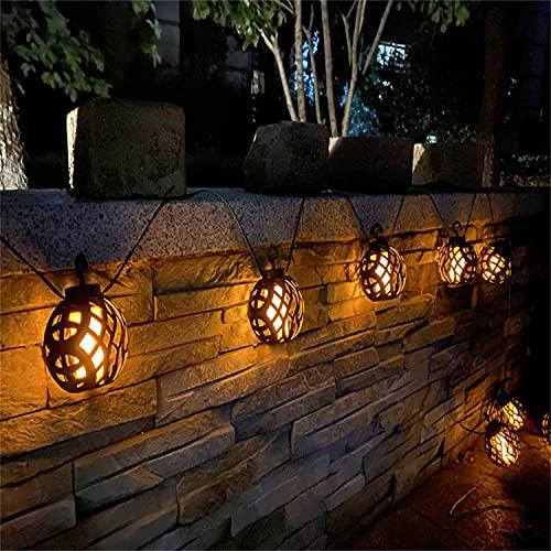 8 bombillas solar llama bola lámpara LED al aire libre cadena luces impermeable colgante jardín patio decoración lámpara patio