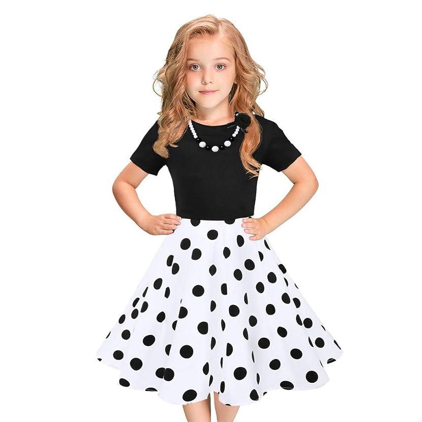 WEISUN Kids Girls Vintage Dress Polka Dot Princess Swing Rockabilly Party 50s Dresses