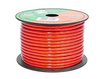 Pyramid RPR10100 10 Gauge Power Wire 100 feet OFC  Clear Red