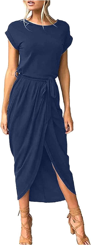 KOPLTYRFG Women's Casual Slit Waistband Irregular Dress Elastic Waist Long Maxi Dress