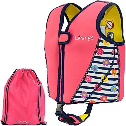 Limmys Premium Neoprene Swim Vest for Children, Ideal Buoyancy Swimming Aid for Girls, Drawstring Bag Included (Medium)