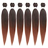26Inch Pre Streched Braiding Hair Hot Water Setting 6Packs/Lot EZ Braid Professional Synthetic Fiber Easy Braids Hair Colors Ombre Crochet Braids Hair Extensions (1B-30#)