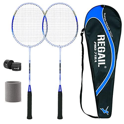 ALAKAYA Badminton Set - 2 Badmintonschläger + Schlägertasche, Leichtgewicht Badminton Schläger, Federballspiel Set, 2 Spieler Federball Setfür Training, Sport und Unterhaltung mit Schlägertasche