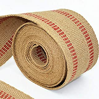 """ZAIONE 10 Yards Width 2"""" Roll Natural Burlap Red Line Jute Webbing Ribbon Upholstery Chair Webbing Tape for Outdoor DIY Gear Repai (Red Stripes)"""