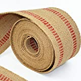 ZAIONE 10 Yards Width 2' Roll Natural Burlap Red Line Jute Webbing Ribbon Upholstery Chair Webbing Tape for Outdoor DIY Gear Repai (Red Stripes)