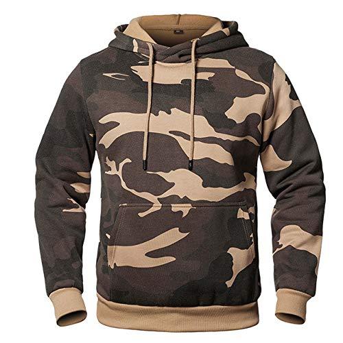 HNOSD Herren Langarm Hoodie Sweatshirt Camouflage Hut Casual Herren Fleece Hoodies Masculino Hoody Männlich Pullover Kleidung WY03 Khaki XL
