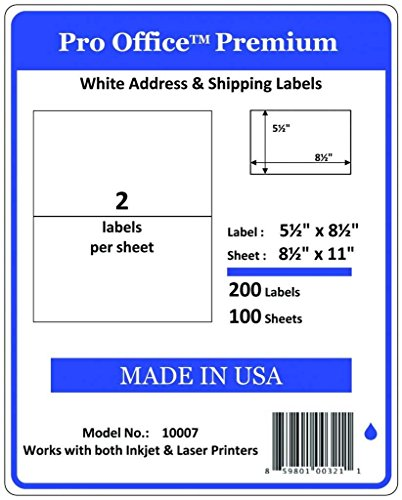 Wing Office Premium 200 Half Sheet Self-Adhesive Shipping Labels for Laser Printers and Ink Jet Printers, White, Made in USA, 5.5 x 8.5 Inches, Pack of 200