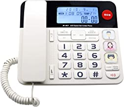 Home Landline Phone with Caller ID, HePesTer P-47 Upgrade Corded Phone for Home with Luminous&Large Button/Amplified Volume/SOS Emergency Button/Speed Dial Memory/Blacklist