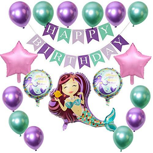 Sirena Globo, Decoraciones de Fiesta de Sirena Globos Cumpleaños Globos de Látex de Sirena Morado de Látex Verde Globo de Papel de Aluminio para Cumpleaños Fiestas de Boda Baby Shower