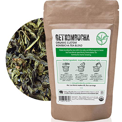 Organic Kombucha Tea Blend - (180 Servings) Buy 2 Get 1 Free - Save 54% GetKombucha® - Premium Green and Black Loose Leaf Tea For Kombucha Tea At Home-100% Guaranteed To Make The Best Kombucha!