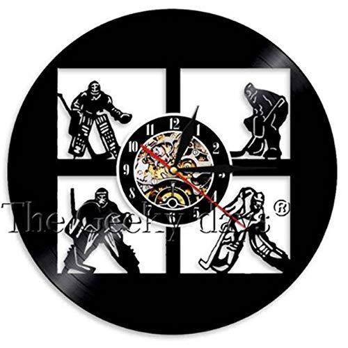 FANCYLIFE Wand der Eishockey-Sport-Vinylwanduhr-LED mit oder ohne geführtes Licht, 4 Arten zum zu wählen