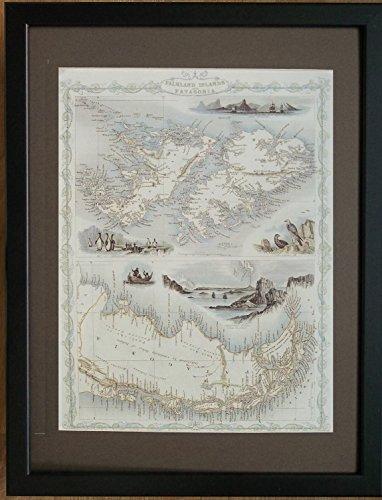 Mapa del viejo mundo enmarcado y montado, marco de 30,5 x 40,6 cm, mapa de las Islas Malvinas