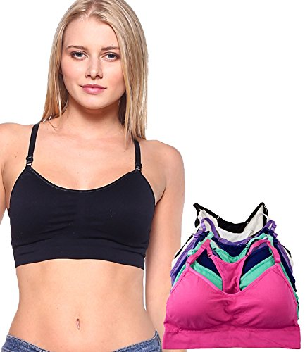 Barbra's 6 Pack Regular Size(Small-Large) Wirefree Yoga Bras with Removable Pads, Pink/Mint/Navy/Purple/White/Black