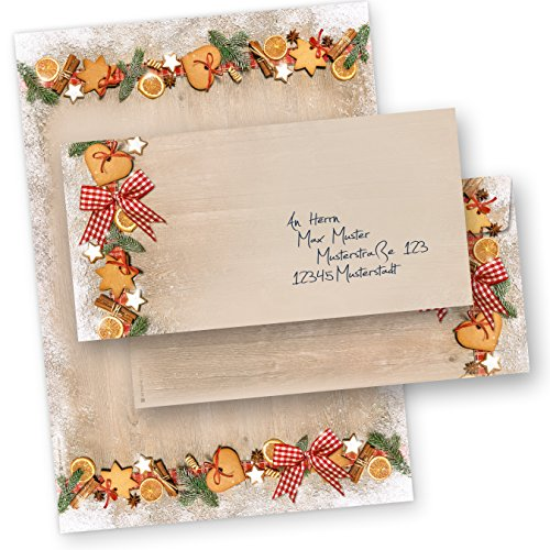 TATMOTIVE WB120 Weihnachtsbriefpapier Set LANDIDYLLE + Umschläge DIN lang ohne Fenster, DIN A4 90 G/QM, 25 Sets - Braun