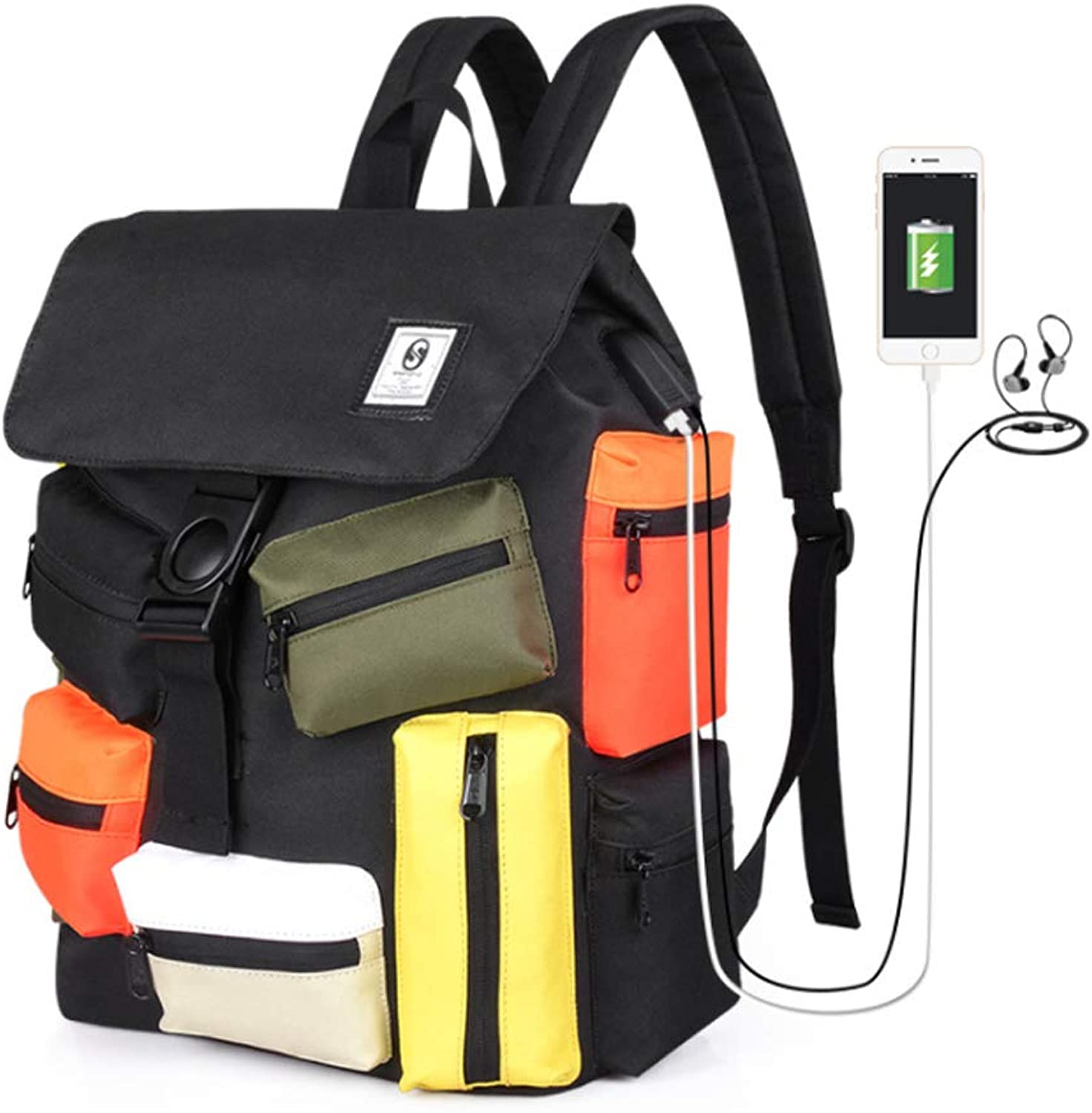 MultiPocket Multicoloured with USB Charging LargeCapacity Recreational Outdoor Backpack