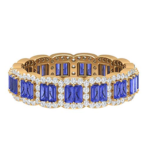 Anillo de tanzanita creado en laboratorio de 1,5 x 3 mm, corte baguette, halo de diamante HI-SI, anillo de banda de eternidad de oro (calidad AAAA), 14K Oro amarillo, Size:EU 45