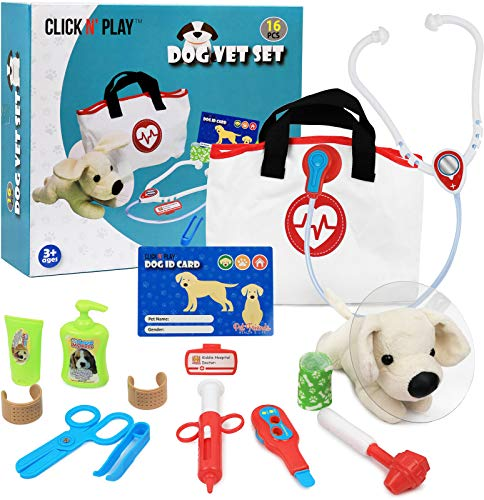 Click N' Play Pretend Play Pet Examine & Treat Vet Veterinary Doctor Play Set for Animal Pets Dogs 16Piece