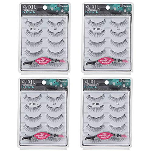 Read About Ardell Professional Eyelashes #110 With Free Applicator - 4 Packs of 5 Pairs