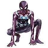 PS4 Spider-Man Cosplay Onesies Adulto Niño Escenario Actuación Disfraces Combinados Carnaval de Halloween Superhéroe Fiesta Mono Mono Medias de Baile,Black- Kid 2X 145~155 cm