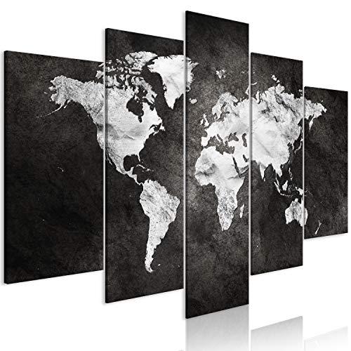 murando Cuadro Acústico Mapamundi 225x112 cm XXL Impresión Artística 5 Piezas Lienzo de Tejido no Tejido Estampado Decoración de Pared Aislamiento Absorción de Sonidos Concreto k-A-0430-b-m