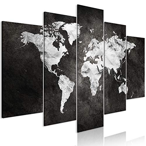 murando Cuadro en Lienzo Mapamundi 200x100 cm Impresión de 5 Piezas Material Tejido no Tejido Impresión Artística Imagen Gráfica Decoracion de Pared Concreto k-A-0430-b-m