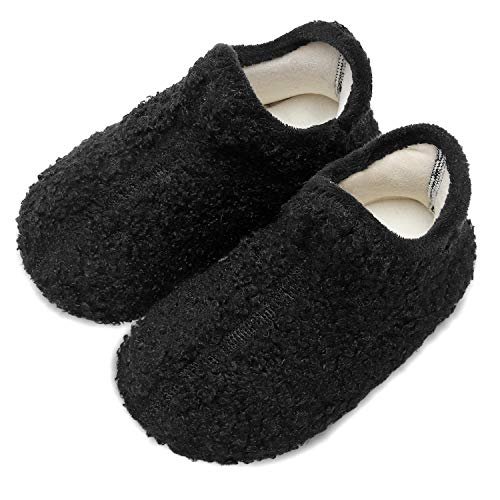 Scurtain Kids Toddler Slippers Socks Artificial Woolen Slippers for Boys Girls Baby with Non-Slip Rubber Sole 2026 Black Toddler 8-8.5