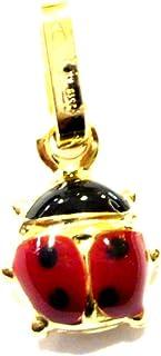 Ciondolo Oro Giallo 18kt (750) Pendente Piccola Coccinella Smaltata Rossa Charms Ragazza Bambina