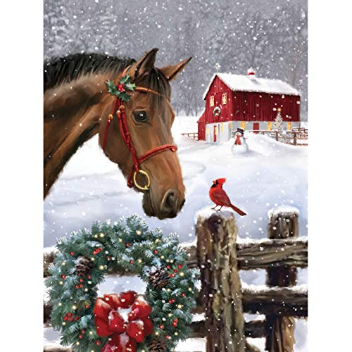 5D Diamond Painting Christmas Wreath Horse and Bird Full Drill by Number Kits, SKRYUIE DIY Rhinestone Pasted Paint with Diamond Set Arts Craft Decorations (12x16inch)