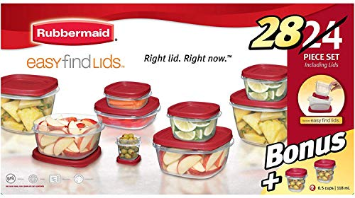 Rubbermaid Easy Find Lids Food Storage Containers with Lids - BPA-Free Durable Plastic Food Containers Great for Home, School, Travel - Freezer, Microwave, and Dishwasher Safe - 28 Piece Set - Red