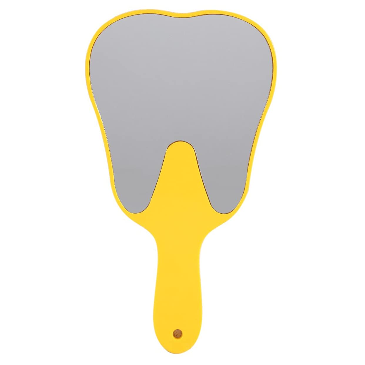 改修王位平らにするおしゃれな便利なかわいいプラスチックハンドル歯歯科ケアハンドミラーツール(黄色)
