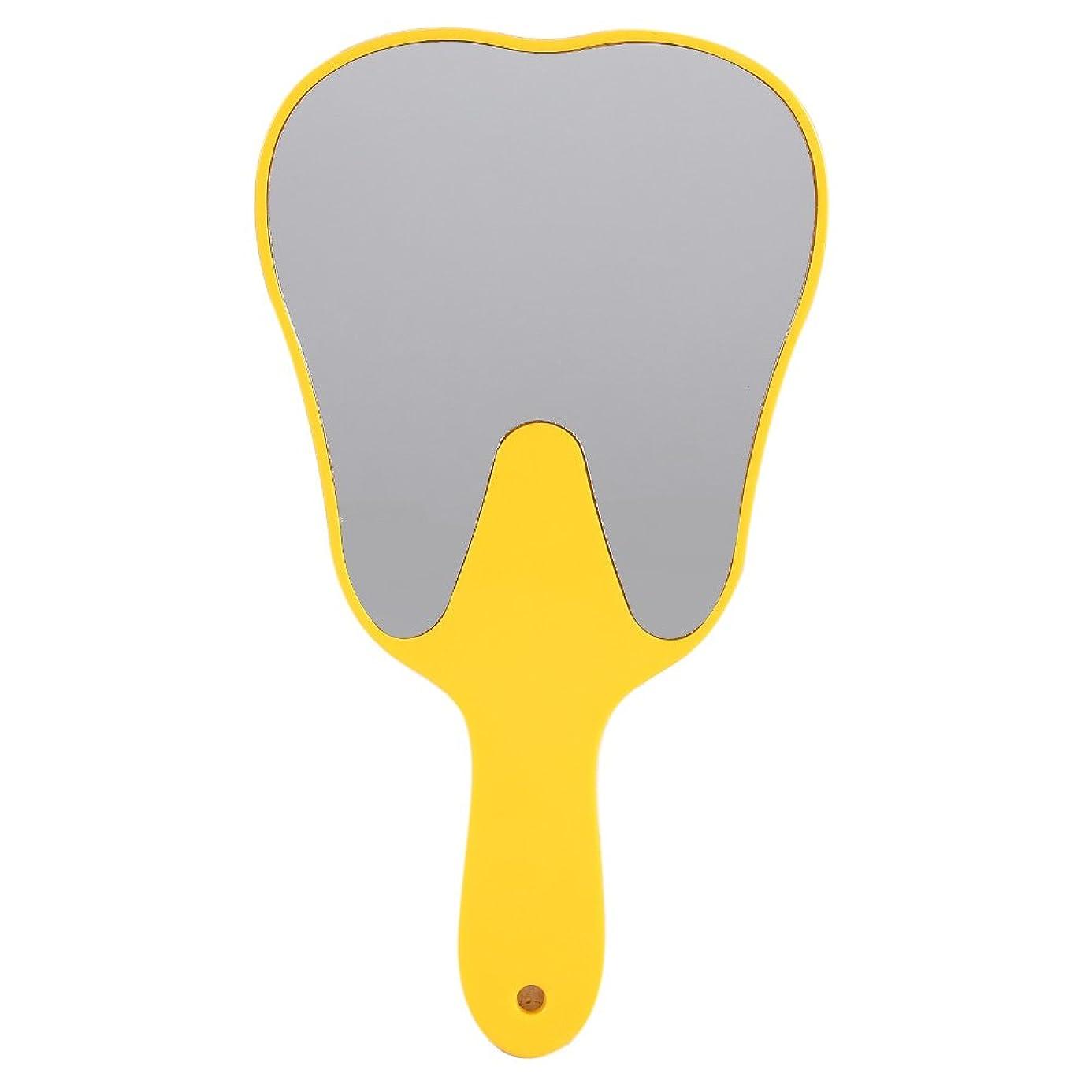 マスク下にコンクリートおしゃれな便利なかわいいプラスチックハンドル歯歯科ケアハンドミラーツール(黄色)