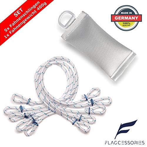 Flagcessories Premium Fahnen und Flaggen Befestigung Set für Ihren Fahnenmast bestehend aus 5X klapperfreien Fahnenschlingen und 1x Fahnengewicht 400g, Fahnenmast Zubehör