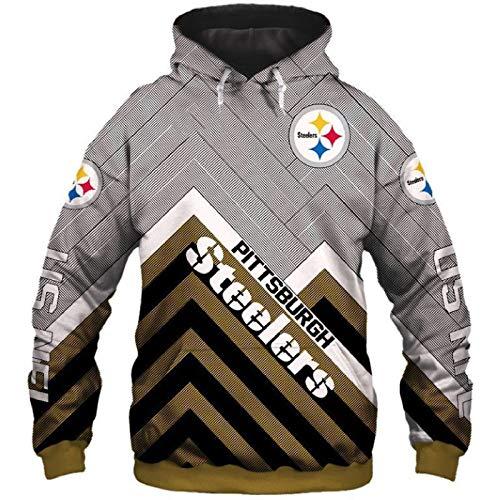 Herren Rugby Uniform, Steel Team Pullover Hoodie, American Football Anzug, Fan Sports Shirt XXXXXL
