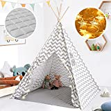 Tiny Land Kids Tent- Teepee Play Tent for Kid with Padded Mat & String Lights, Kids Playhouse, Bed Tent for Kids, Kids Teepee Tent, Toddler Tent, Indoor Furniture, Kids Play Tent for Boy & Girls