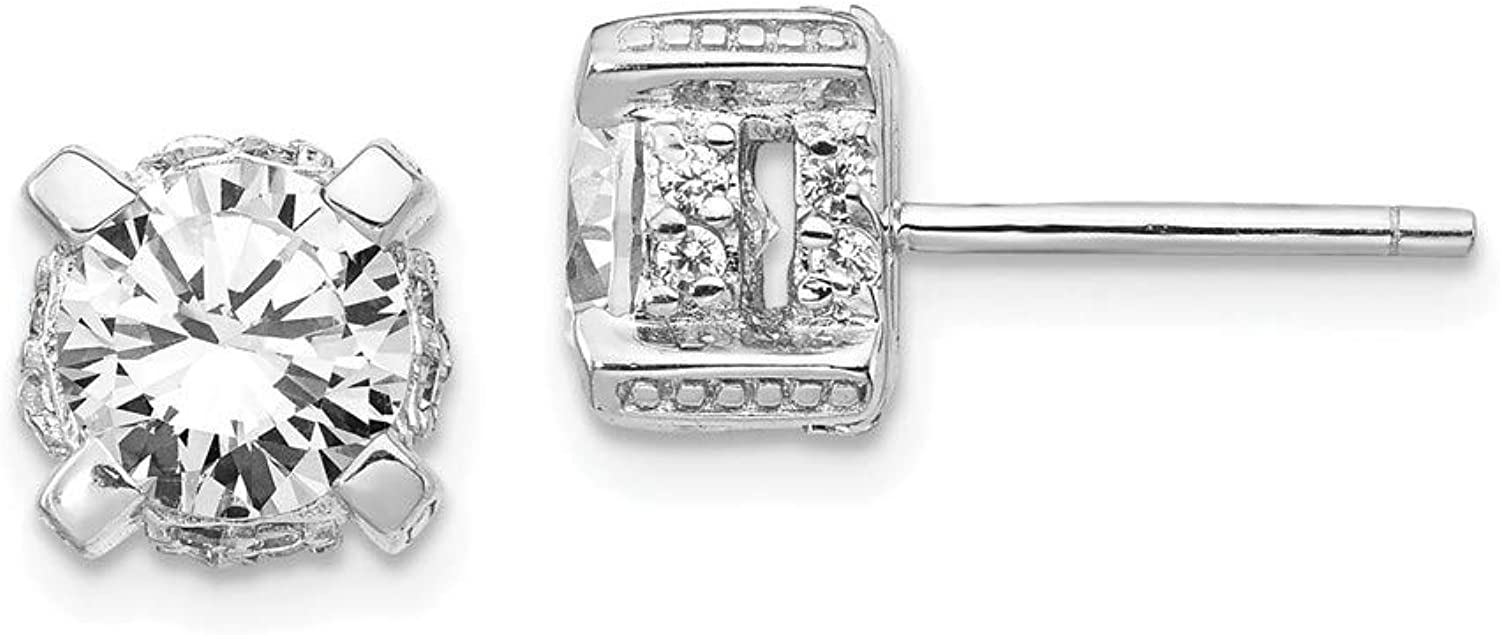 Beautiful Sterling silver 925 sterling Cheryl M Sterling Silver Rhodium Plated CZ Post Earrings