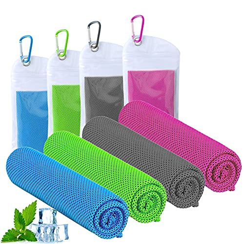 ICECUUL Beach Accessories Cooling Towel 4 Packs (47'x12') Microfiber Towel for Instant Cooling Relief, Cool Cold Ice Towel for Yoga Golf Travel Gym Sport Camping Running & Outdoor Sports