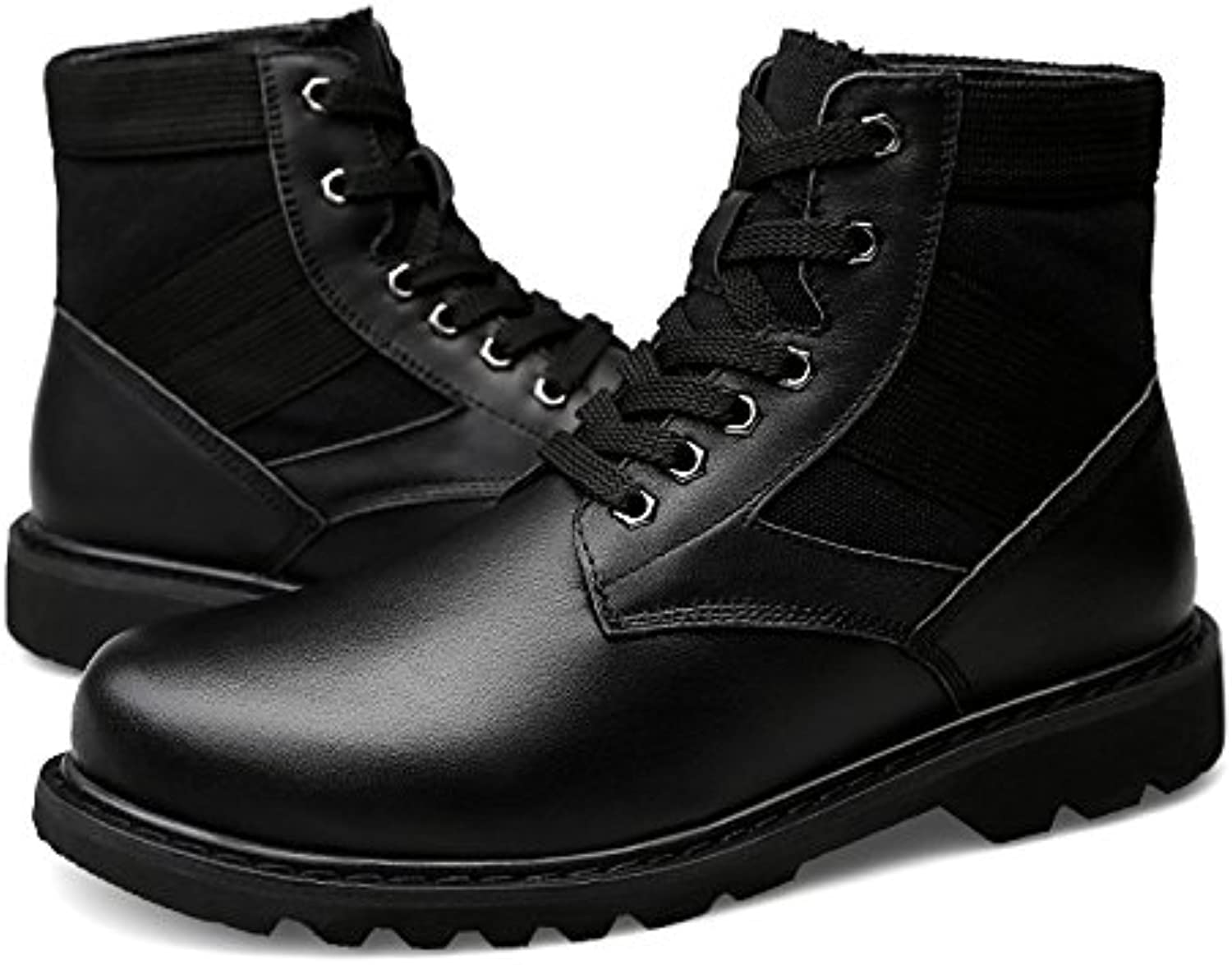 Shuo lan Men's Ankle Boots Casua High Top Lace Up Rubber Outsole Martin Boots(Warm Velvet Optional)