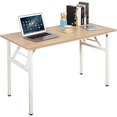 Need Bureau d'Ordinateur Informatique Pliante 120x60cm Table d'étude/à dîner Pliable pour Maison/Bureau,Burlywood Couleur & Blanc Pied,AC5AW