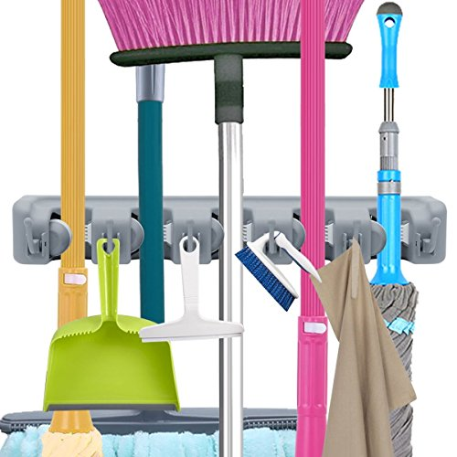 Mop Broom Holder, Garden Tools Wall Mounted Commercial Organizer Saving Space Storage Rack for Kitchen Garden and Garage,Laundry Offices(5 Position with 6 Hooks)