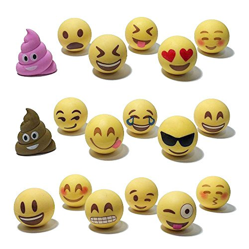 Pencil Top Erasers - Emoji Erasers for Kids - Fun Pencil Top Eraser - Everything Emoji Cute Pencil Eraser Tops (Set 4 (18 pack))
