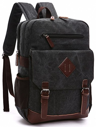 Kenox Mens Large Vintage Canvas Backpack School Laptop Bag Hiking Travel Rucksack (Black)