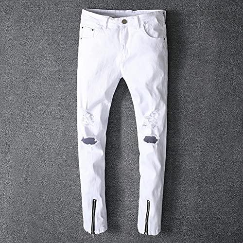 Ocuhiger Pantalones Vaqueros Rectos Delgados para Hombre Pantalones De Mezclilla De Retazos Clásicos De Moda Pantalones Elásticos con Agujeros De Cremallera Rasgados En La Calle Blanco