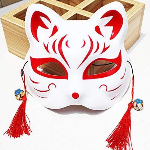 Máscara de Halloween Máscaras De Halloween, Máscara De Zorro Pintado Y El Viento Japonesa del Gato del Animado Demonio Yuanes Hombres Secundarias Selfie Decoración De Halloween Máscara del Partido De