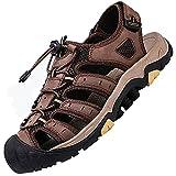 Sandalias Unisex Para JóVenes,Senderismo Transpirable Peso Ligero Cuero Camper Deportivas Sandalias Al Aire Libre Pescador Playa Zapatos,Dark_brown_40