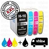 vhbw 4X Cartuchos de Impresora/Tinta Compatible con HP DesignJet 110 Plus NR, 110 Plus, 111, 500 -Set 1x Cian, 1x Magenta, 1x Negro, 1x Yellow