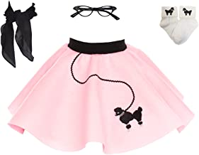 1950s Poodle Skirt with Scarf, Bobby Socks, and Glasses, 4 Piece Halloween or Pretend Play Costume Set for Toddlers