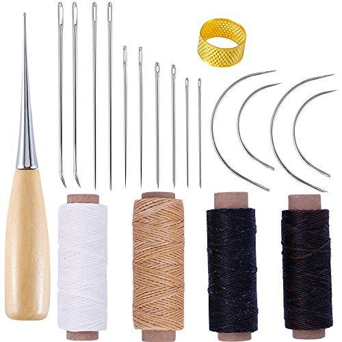Qtopun - Juego de agujas de reparación y roscas enceradas, 20 piezas de herramientas de cuero para bricolaje, 7 tipos de agujas de costura para el hogar, agujas curvas, agujeros, punzones y dedales