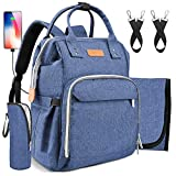 Diaper Backpack Bag with Wide Open Design Changing Pad Insulated Cooler Pocket