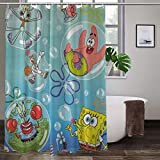 WOMFUI Sponge-Bob Blowing Bubbles Waterproof and Cute Shower Curtain with Hooks for Bathroom